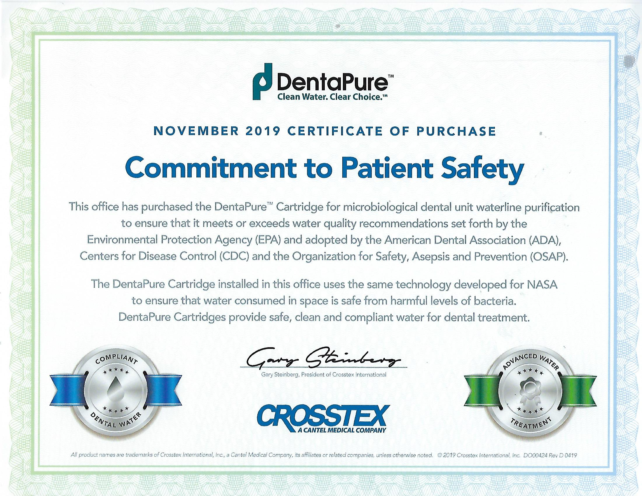 November 2019 DentaPure Certificate of Purchase
