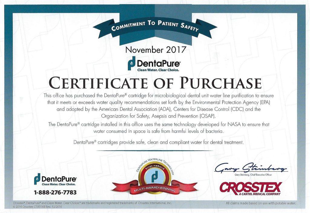 November 2017 DentaPure Certificate of Purchase